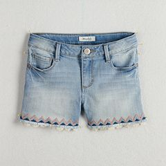 Girls 7-16 & Plus Size Mudd® Embroidered Trim & Frayed Hem Denim Shorts