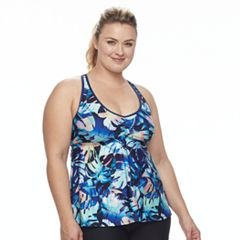 Plus Size N Printed Ladder Back Waist Minimizer Tankini Top
