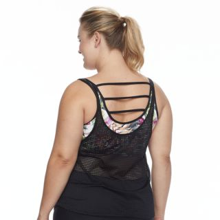Plus Size N Mesh Double Up Waist Minimizer Tankini Top