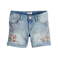 Girls 7-16 & Plus Size Mudd® Embroidered Floral Frayed & Rolled Cuff Denim Shorts