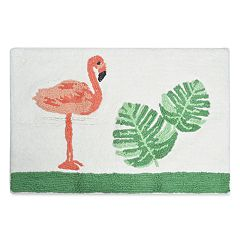 Destinations Palm Leaf Flamingo Bath Rug