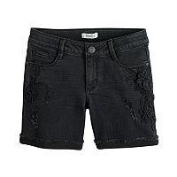 Girls 7-16 & Plus Size Mudd® Floral Applique Distressed Denim Shorts