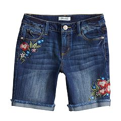 Girls 7-16 & Plus Size Mudd® Embroidered Floral Frayed Hem Cuffed Bermuda Shorts