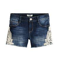 Girls 7-16 & Plus Size Mudd® Crochet Side Trim & Frayed Hem Denim Shorts