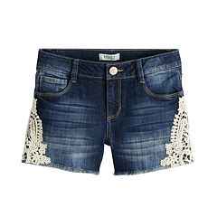Girls 7-16 & Plus Size Mudd® Crochet Side Trim & Frayed Hem Denim Shorts