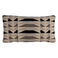 Rizzy Home Diamond Motif Stripe Wool Blend Oblong Throw Pillow