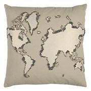 Rizzy Home World Map Throw Pillow
