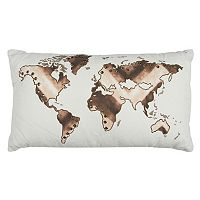 Rizzy Home World Map Oblong Throw Pillow