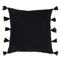 Rizzy Home Mesh Solid Tassels Throw Pillow