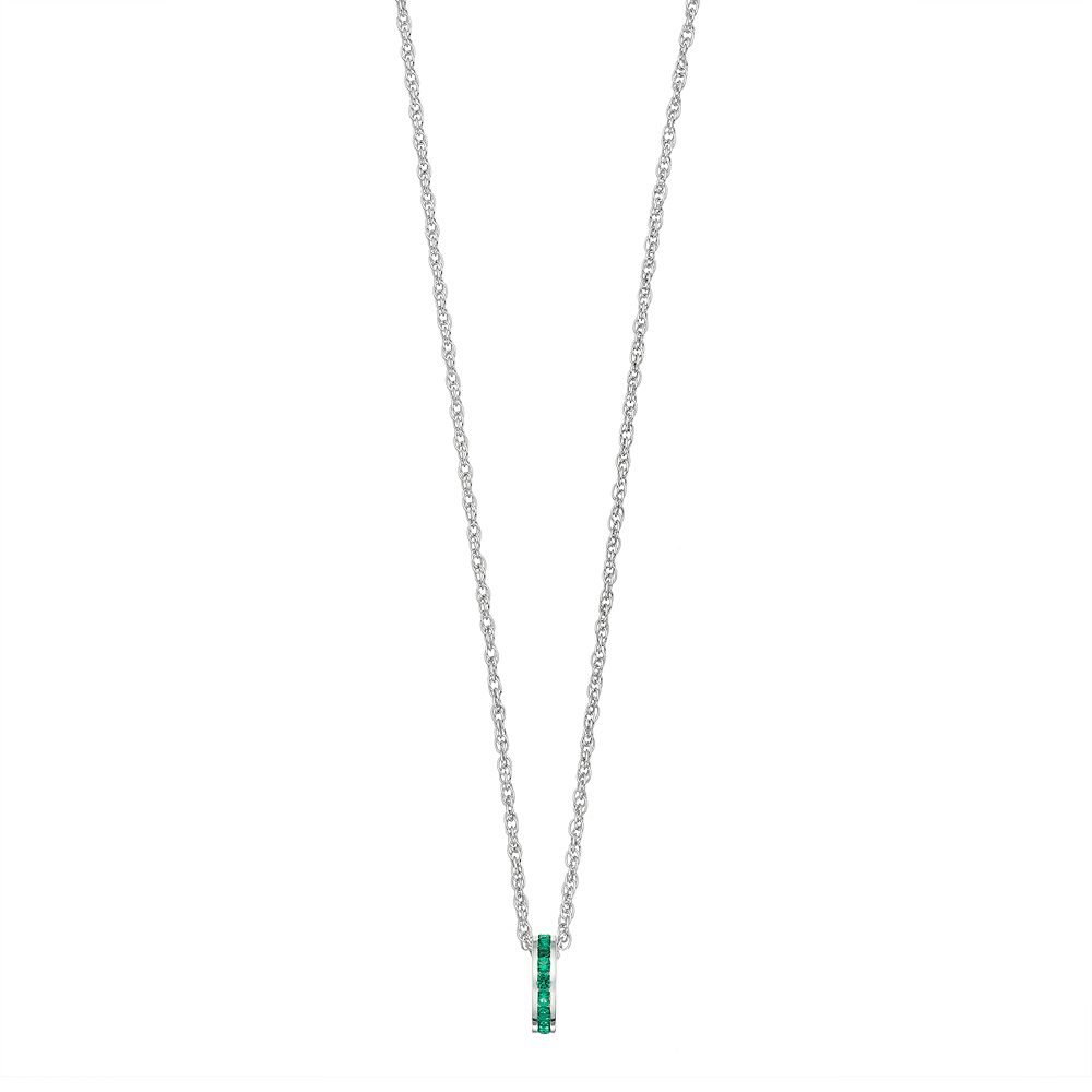 Traditions Sterling Silver Channel-Set Lab-Created Emerald Birthstone Pendant Necklace