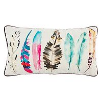 Rizzy Home Colorful Feathers Oblong Throw Pillow