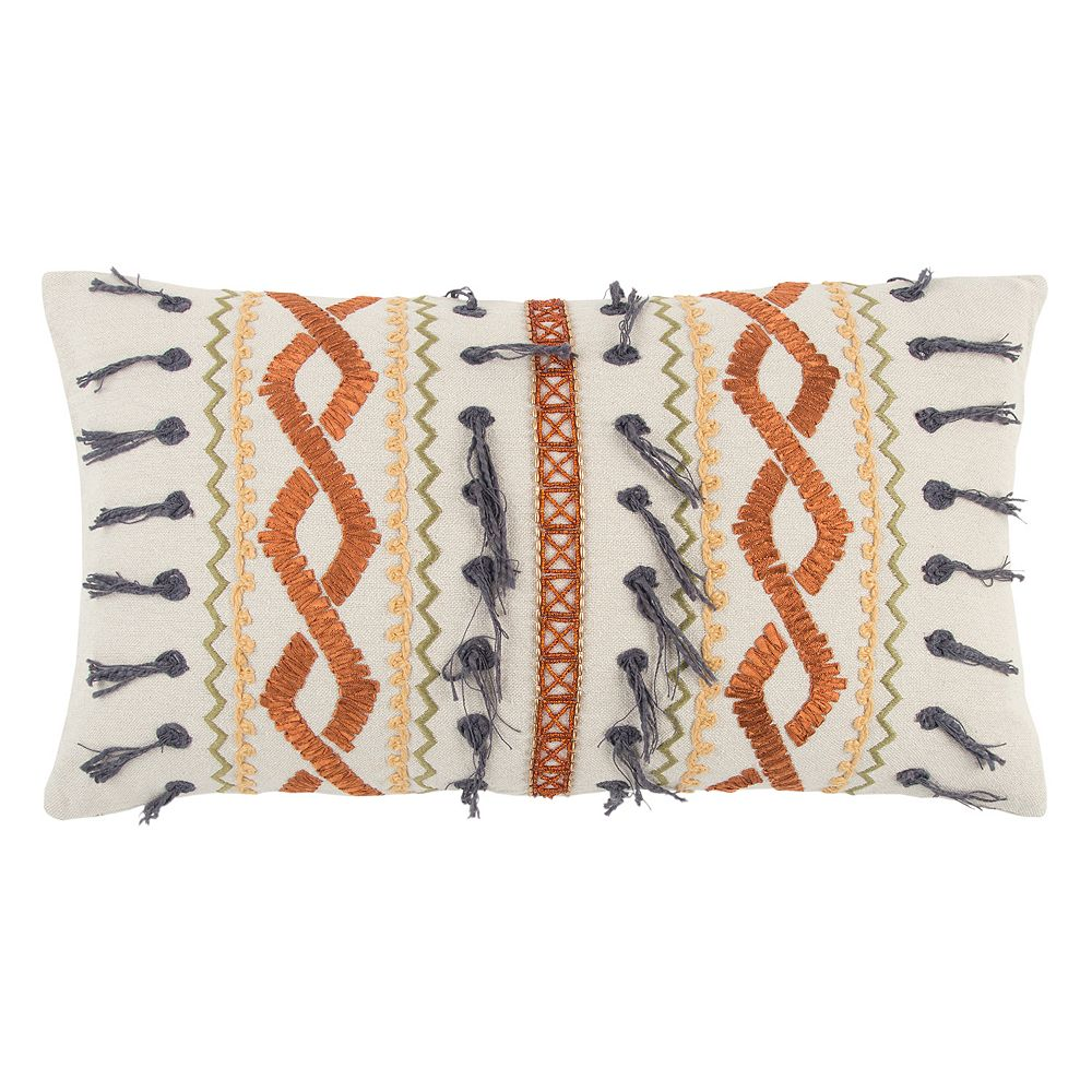 Rizzy Home Textured Geometric I Oblong Throw Pillow