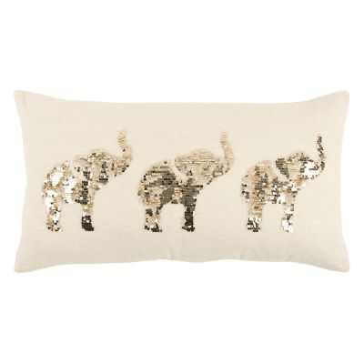 Rizzy Home Sequin Elephants Oblong Throw Pillow