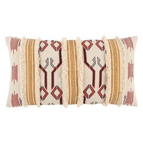 Rizzy Home Textured Tribal Oblong Throw Pillow