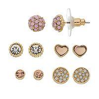 LC Lauren Conrad Pink Nickel Free Heart Stud Earring Set