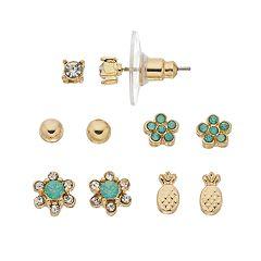 LC Lauren Conrad Green Nickel Free Flower & Pineapple Stud Earring Set
