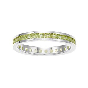 Traditions Sterling Silver Channel-Set Peridot Birthstone Ring