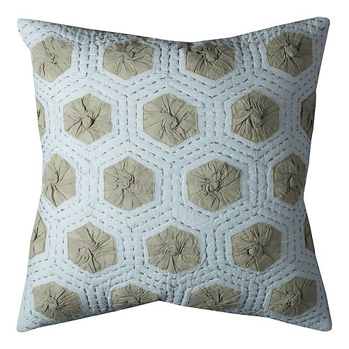 Rizzy Home Geometric Medallions Applique Throw Pillow