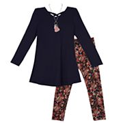 Girls 7-16 IZ Amy Byer Crossback Tunic & Floral Leggings Set with Necklace