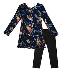 Girls 7-16 IZ Amy Byer Blue Feather Floral Tunic & Leggings Set with Necklace