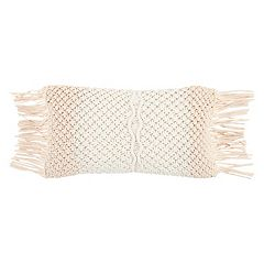 Rizzy Home Macrame Fringe Oblong Throw Pillow