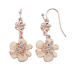 LC Lauren Conrad Double Flower Nickel Free Drop Earrings