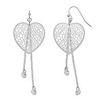 LC Lauren Conrad Filigree Nickel Free Heart Drop Earrings