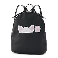 T-Shirt & Jeans Peeking Cat Mini Backpack