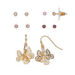 LC Lauren Conrad Butterfly Nickel Free Earring Set