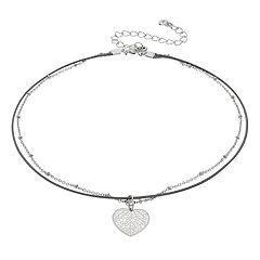 LC Lauren Conrad Heart Double Strand Choker Necklace