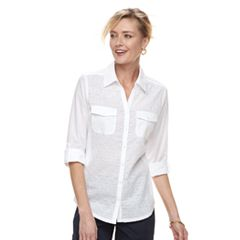 Women's Croft & Barrow® Eyelet Knit-to-Fit Roll Tab Shirt