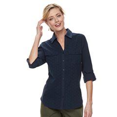 Women's Croft & Barrow® Eyelet Knit-to-Fit Roll Tab Shirt