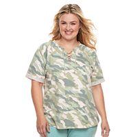 Plus Size SONOMA Goods for Life™ Lace-Up Sweatshirt