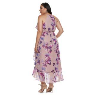 Plus Size Jennifer Lopez Floral Ruffle Wrap Dress