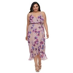 Plus Size Jennifer Lopez Floral Ruffle Wrap Dress