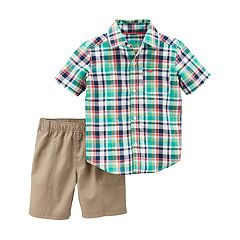 Toddler Boy Carter's 2 pc Plaid Shirt & Shorts Set