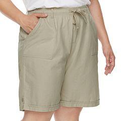 Plus Size Gloria Vanderbilt Jamy Sheeting Drawstring Shorts