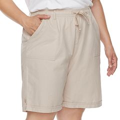 Plus Size Gloria Vanderbilt Jamy Sheeting Drawstring Shorts