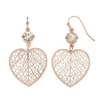 LC Lauren Conrad Openwork Heart Nickel Free Drop Earrings