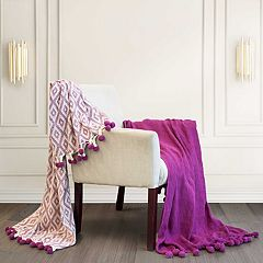 Diamond Maze Pom-Pom 2-pack Cotton Throws