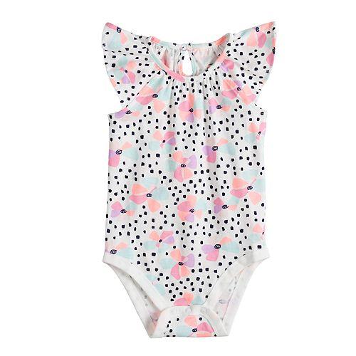 Baby Girl Jumping Beans® Floral Flutter Bodysuit