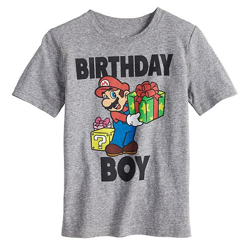 Boys 4 10 Jumping BeansR Nintendo Mario Bros Birthday Boy Graphic Tee