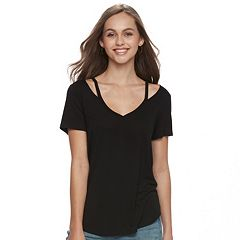 Juniors' SO® Cut-Out Tee