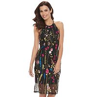 Women's Double Click Embroidered Floral Sheath Dress
