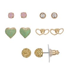 LC Lauren Conrad Colorful Nickel Free Geometric Heart & Ball Stud Earring Set
