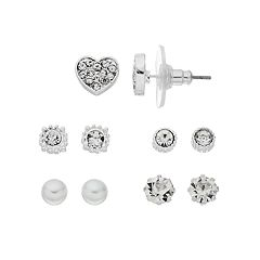 LC Lauren Conrad Heart & Circle Nickel Free Earring Set