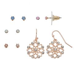 LC Lauren Conrad Filigree Flower Nickel Free Earring Set