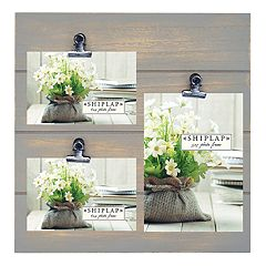 New View Gray Shiplap 3-Opening Photo Clip Collage Frame