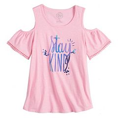 Girls 7-16 & Plus Size SO® Cold Shoulder Pom-Pom Trim Graphic Tee