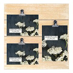 New View Rustic Shiplap 3-Opening Photo Clip Collage Frame